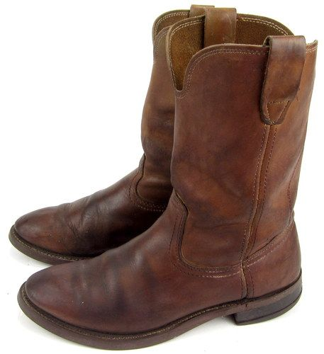 Vintage Brown Leather Short Work Motorcycle Boots Biltrite Cork