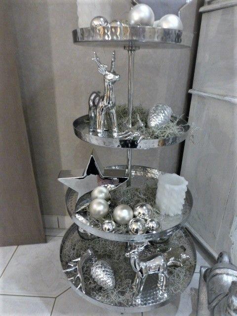 Xxl 150 Cm Grosse Etagere 6 Stockig Silber Hammerschlag Neu