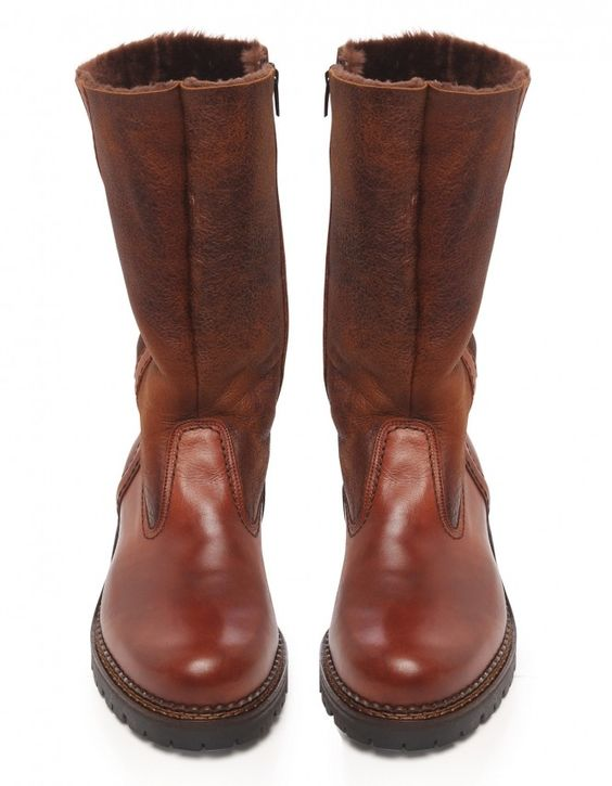 Jules B Tan Leather Shearling Lined Boots