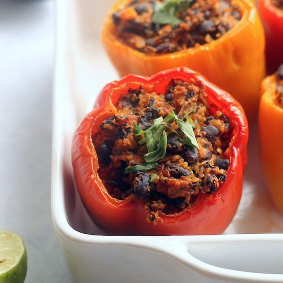 Vegan Enchilada-Stuffed Peppers With Avocado Cream: The following post was originally featured on The Hummusapien and written by Alexis Joseph, MS, RD, LD, who is part of POPSUGAR Select Fitness.