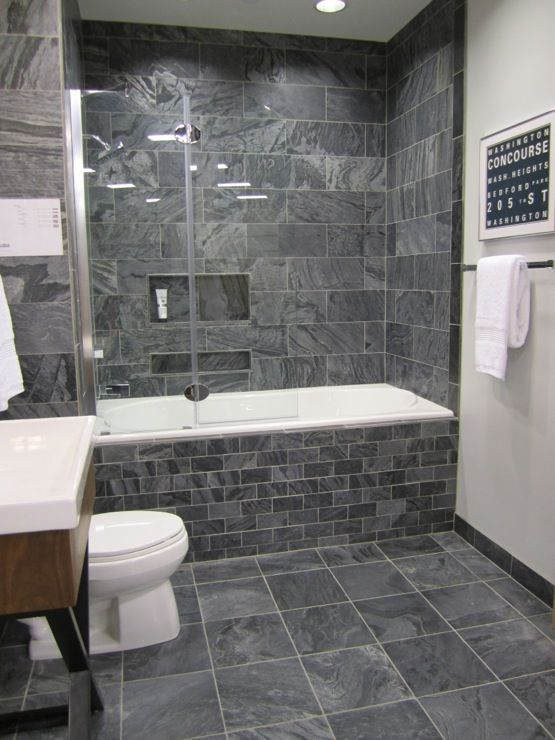 Pin By Kayla On Diy Bathroom Kitchen Grey Bathrooms Dark Gray Bathroom Grey Bathroom Tiles