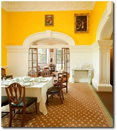 Monticello thomas jefferson 39 s home re painted by ralph for Yellow painted rooms
