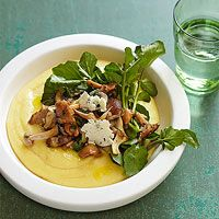 Blue Cheese Polenta with Watercress and Mushrooms (just need to figure out a sub for the cheese to make it dairy free)
