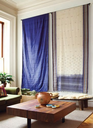 Love the simply hung saris prospect heights townhome of - Cloth wall hanging designs ...