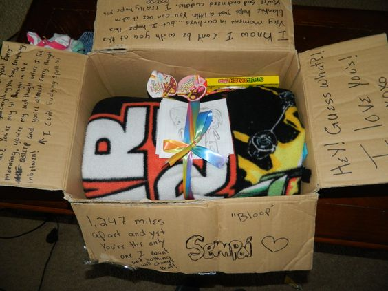 YAY okay so im mailing my Sempai his 6 month anniversary gift today. Its candy, drawings i did and a Star Wars blanket i made with my perfume on it. Then i just wrote cute things on the sides. It should be there by Friday which is our anniversary!  yaaaaaaay im so happy i meet him 6 months ago because he is my whole world! I talked to him on the phone for 4 hours last night :P :3
