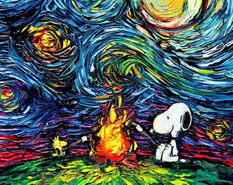 Snoopy Art Peanuts Cartoon Starry Night by SagittariusGallery
