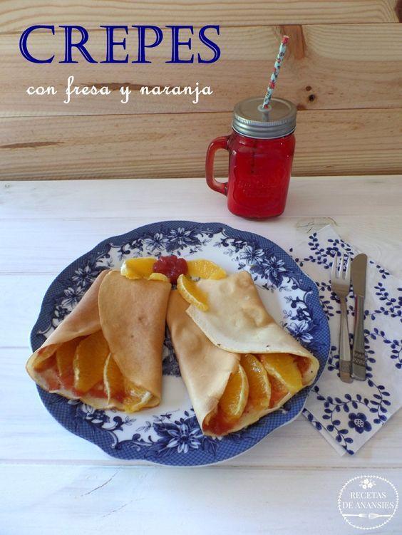 No Sugar crepes with strawberry jam and orange ----- Recetas de anansies: Crepes sin azúcar con mermelada de fresa y naranja...