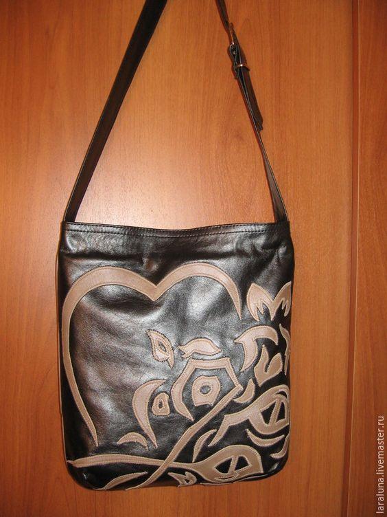 """Купить Женская сумка """"Сердце"""" - черный, рисунок, женская сумка, Кожаная сумка, планшет, формат"""
