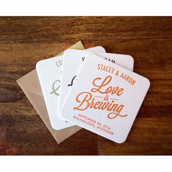 Simple Letterpress Save the Date Coaster by SimplyPressedPS