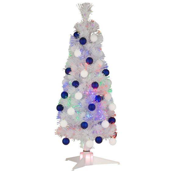 3 ft White Fiber Optic Fireworks Ornament Artificial Christmas Tree