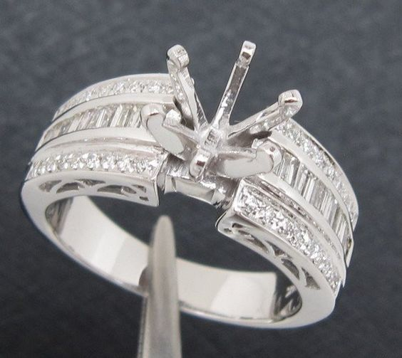 round 6.5mm solid 14k white gold natural diamond semi mount engagement ring set, wholesale ring