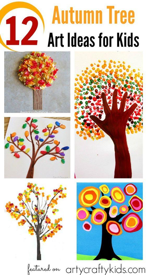 Kunst Bäume, Herbst, Jahreszeiten, verschiedene Methoden und Techniken, Baum, Herbstbaum, malen, basteln, Farben, Hand, Hände, Baumkrone, mittel