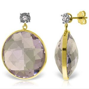 14K Solid Gold Diamonds Stud Earrings with Dangling Checkerboard Cut Round Amethysts - 5318