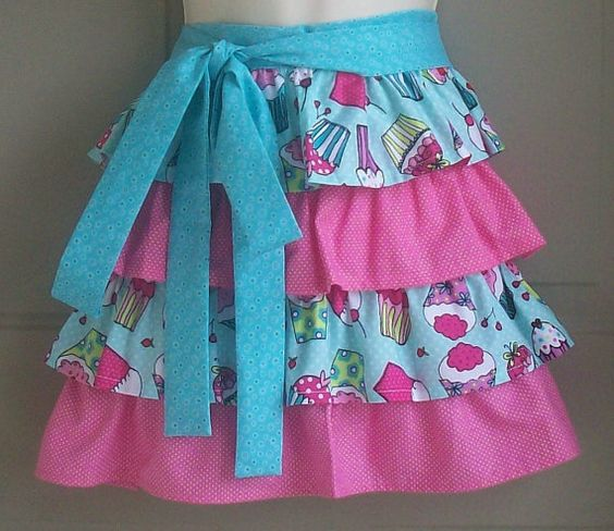 Womens cupcakes and ruffles waist apron / Turquoise by Eclectasie, $26.00