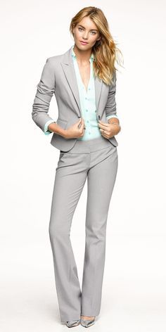 light grey womens suit silver shoes - Google Search | Dress to