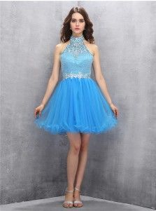 Pretty Halter Backless Sky Blue Short Homecoming Dress with Beading