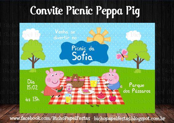 Convite Picnic Peppa Pig