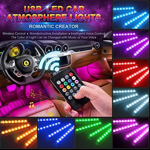 Creatrek Car Led Strip Light 4pcs 48 Led Usb Multicolor Music Car Interior Lights Dc 12v Rgb Led Strip Light L Car Led Lights Car Interior Rgb Led Strip Lights