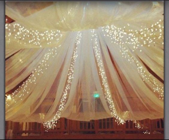 love love love this idea  string lights with shear.
