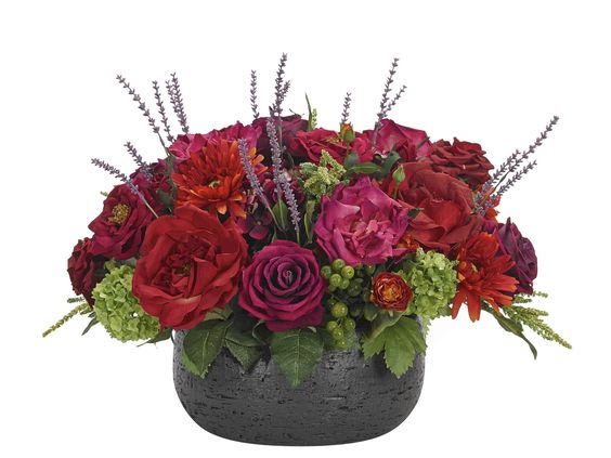 Rose Hydrangea (RF145): Rose Hydrangea, Red Beauty,Textured Ceramic Bowl,13wx19dx16h