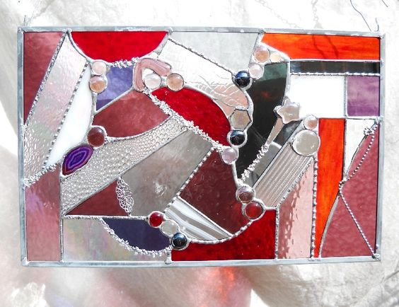 Red Hot Crazy Quilt Stained Glass Panel