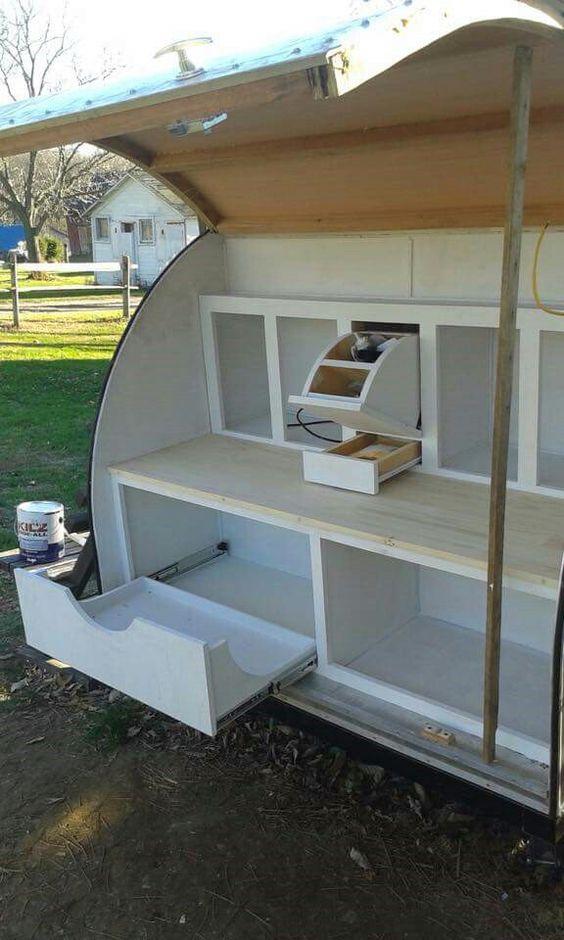 Kitchens on pinterest for Teardrop camper kitchen ideas