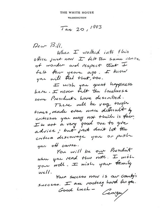 Inauguration Day letter from outgoing President George Bush to