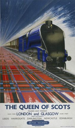 Poster produced for British Railways(BR), Eastern Region (ER), promoting the The Queen of Scots pullman service from Kings Cros Station, London to Queen Street Station, Glasgow each weekday. The poster shows the 'Queen of Scots' locomotive travelling at speed with an expanse of tartan parallel to the tracks. Artwork by Reginald Mayes.