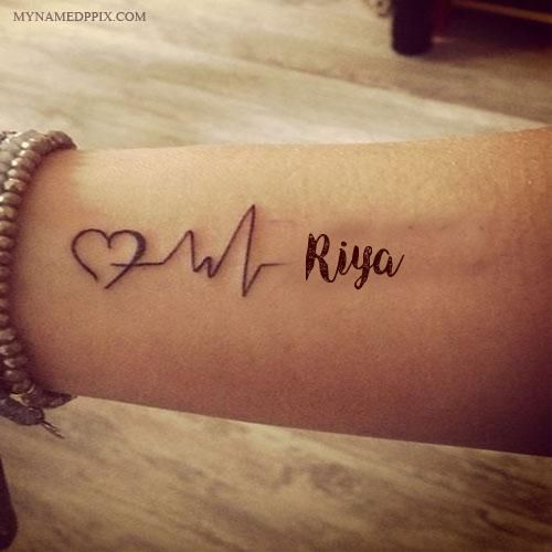 Write Name On Love Heartbeat Tattoo Image Couple Name Tattoos Name Tattoo On Hand Heartbeat Tattoo With Name