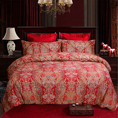 Softta Boho Bedding California King 3 Pcs Paisley Damask Https Www Amazon Com Dp B07md4ggzt Ref Cm Sw R Damask Duvet Covers Twin Bed Sets Red Duvet Cover