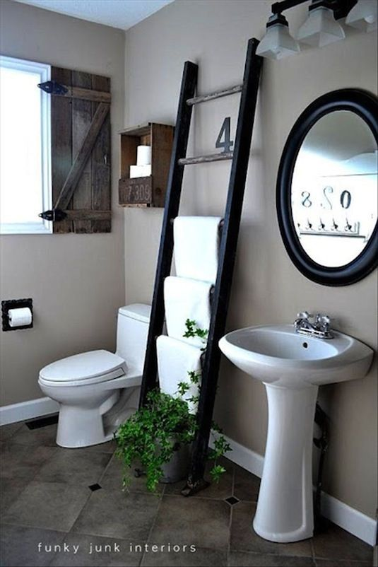 Re-purposing items to new functional furniture. E.g. 20 Unusual Furniture Hacks | Use a ladder as a towel rack.