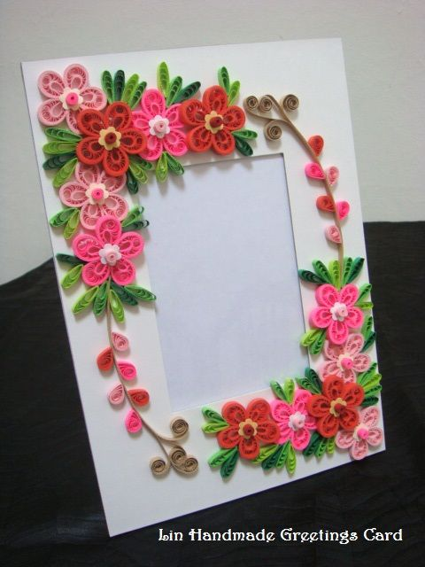 Quilled photo frames first time making them love it for Easy handmade flowers
