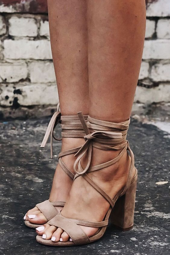 Strappy lace up heels.   Fashion