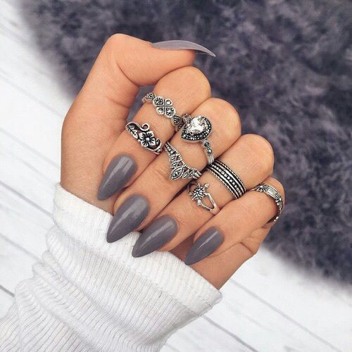 Dark Grey Nails and Silver Rings: