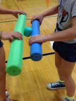 Scroll down for some photos of games using pool noodles. This would be great for teacher structured outdoor time. We have some noodles (and can always get more) and can gather the other materials.