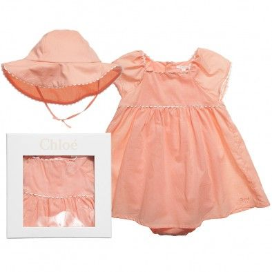 Girls Orange Cotton Shortie Dress and Hat Gift Set