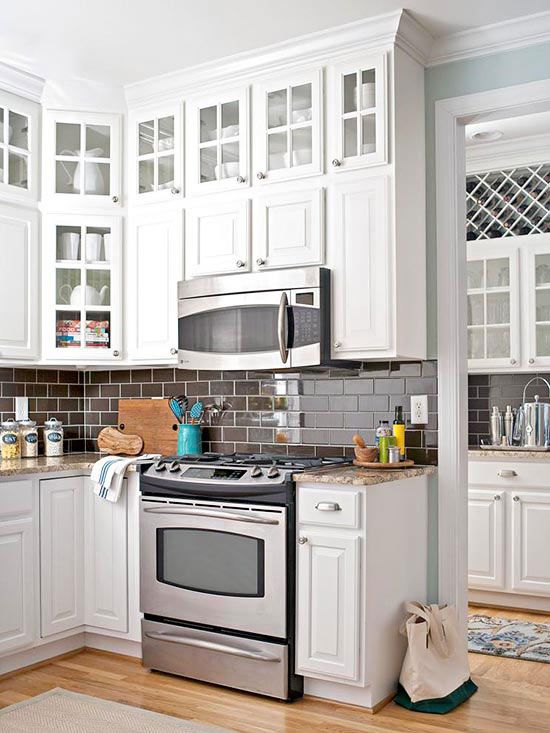 cabinets chocolate brown glass cabinets open layout appliances subway