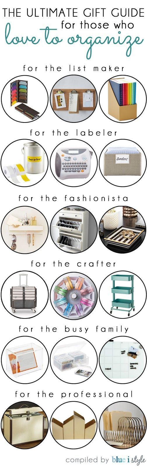 ULTIMATE GIFT GUIDE FOR THOSE WHO LOVE TO ORGANIZE! Do you have an organizing fan on your shopping list this holiday season? You know the type... they are always making lists, labeling everything in sight, and making sure there's a place for everything. These are the gifts they would love to find under the tree!