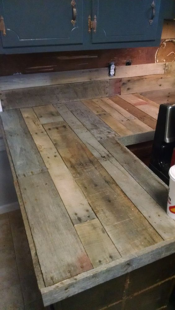 Kitchen countertops and backsplash created from pallets! My largest project to date and learned quite a bit doing it.