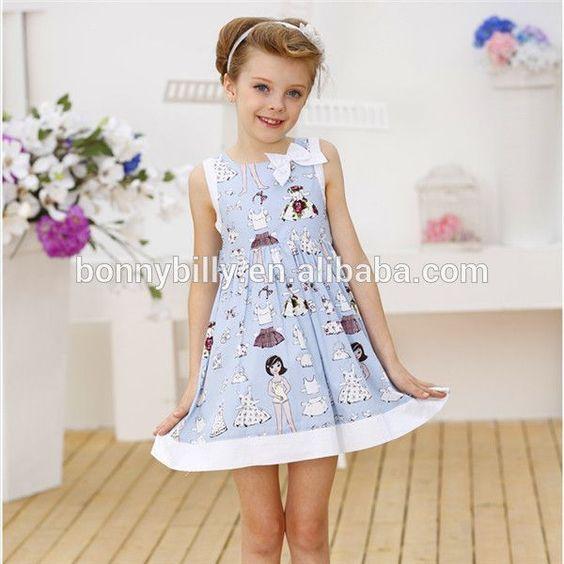 alibaba wholesale clothing -girls dress spring summer -blue cotton ...