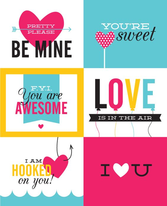 Bright and beautiful Valentine's Day cards to tell them you love them! Free printables!