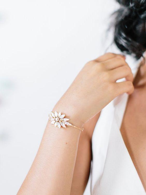 RENOIR - art deco opal bridal bracelet, bohemian wedding bangle