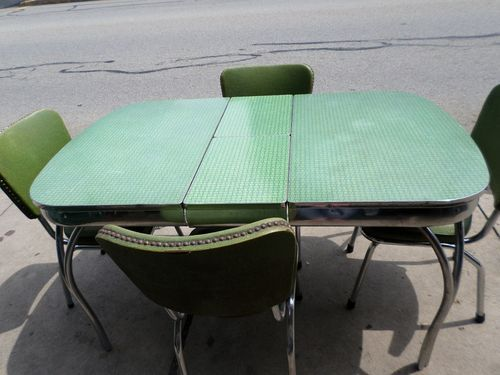 Vintage Mid Century Chrome Green Formica Kitchen Table Set w 4 ...