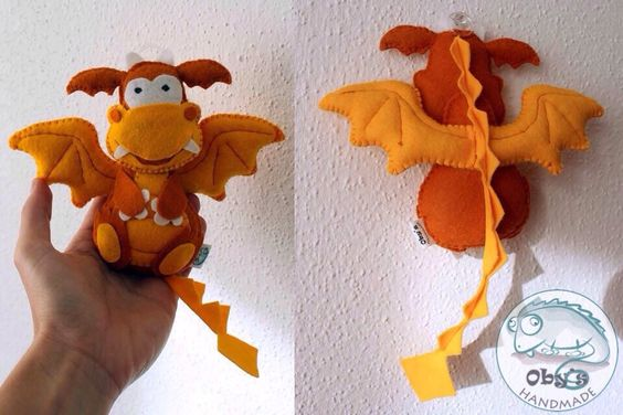 Oby's Handmade - Drago in feltro, cucito a mano - Filz Drachen hangemacht - Felt dragon, completely handmade.