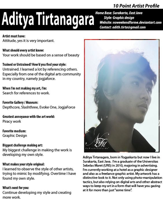 our weekly artist profile this week we feature graphic designer aditya tirtanagara - Graphic Artist Profile