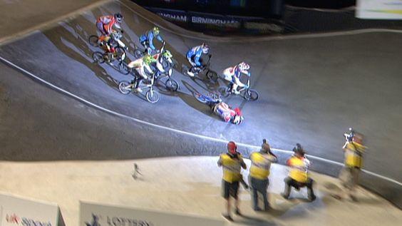 British BMX Olympic hopeful Liam Phillips crashing at the World Championships.