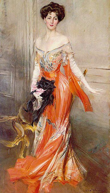 Portrait of Elizabeth Drexel Lehr, as painted by Boldini. Found in the Elms in Newport, RI.: