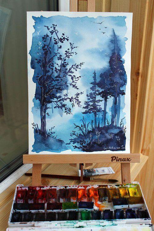 Watercolour Trees Landscape Painting Original Aquarelle Artwork