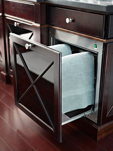 OMG - a towel warming drawer in the bathroom vanity!  THIS is spectacular!  :-)