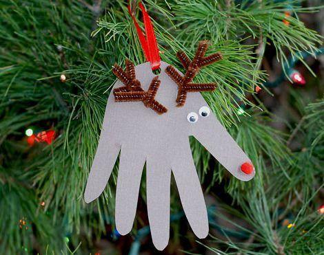 adorno de navidad casero con forma de reno